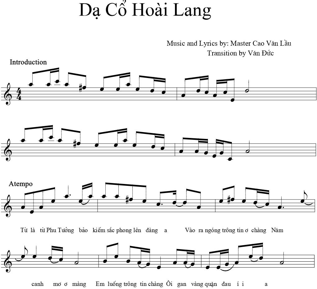Hợp âm và Sheet nhạc Dạ cổ hoài lang – Hương Lan