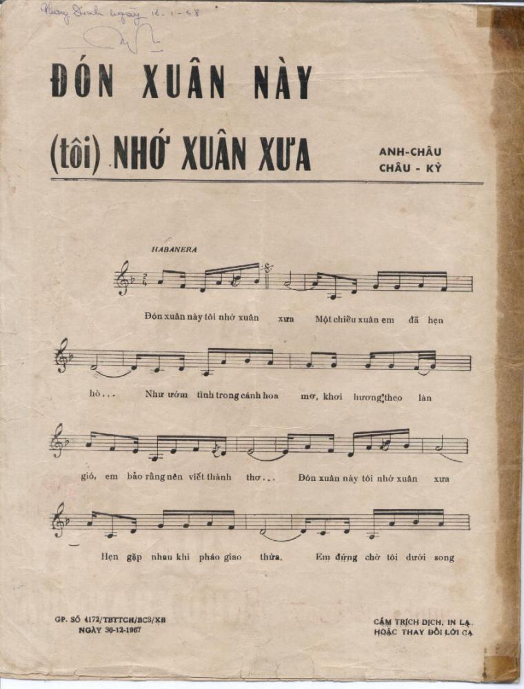 Sheet nhạc Đón xuân này nhớ xuân xưa – Mai Thiên Văn