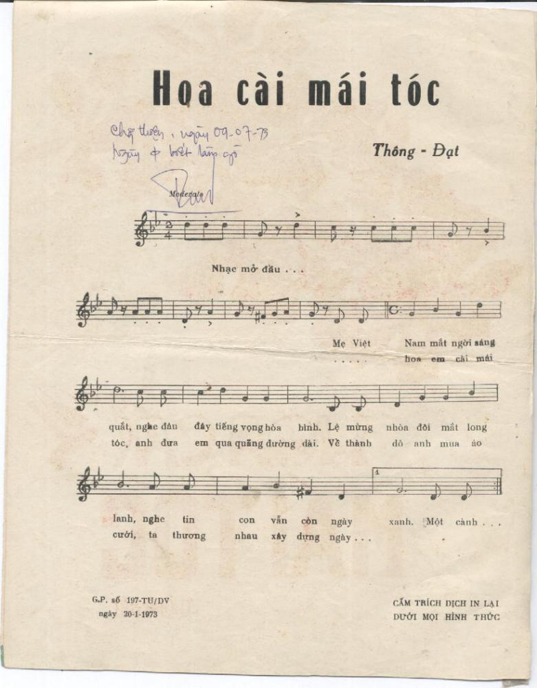Sheet nhạc Hoa cài mái tóc – Quang Lê