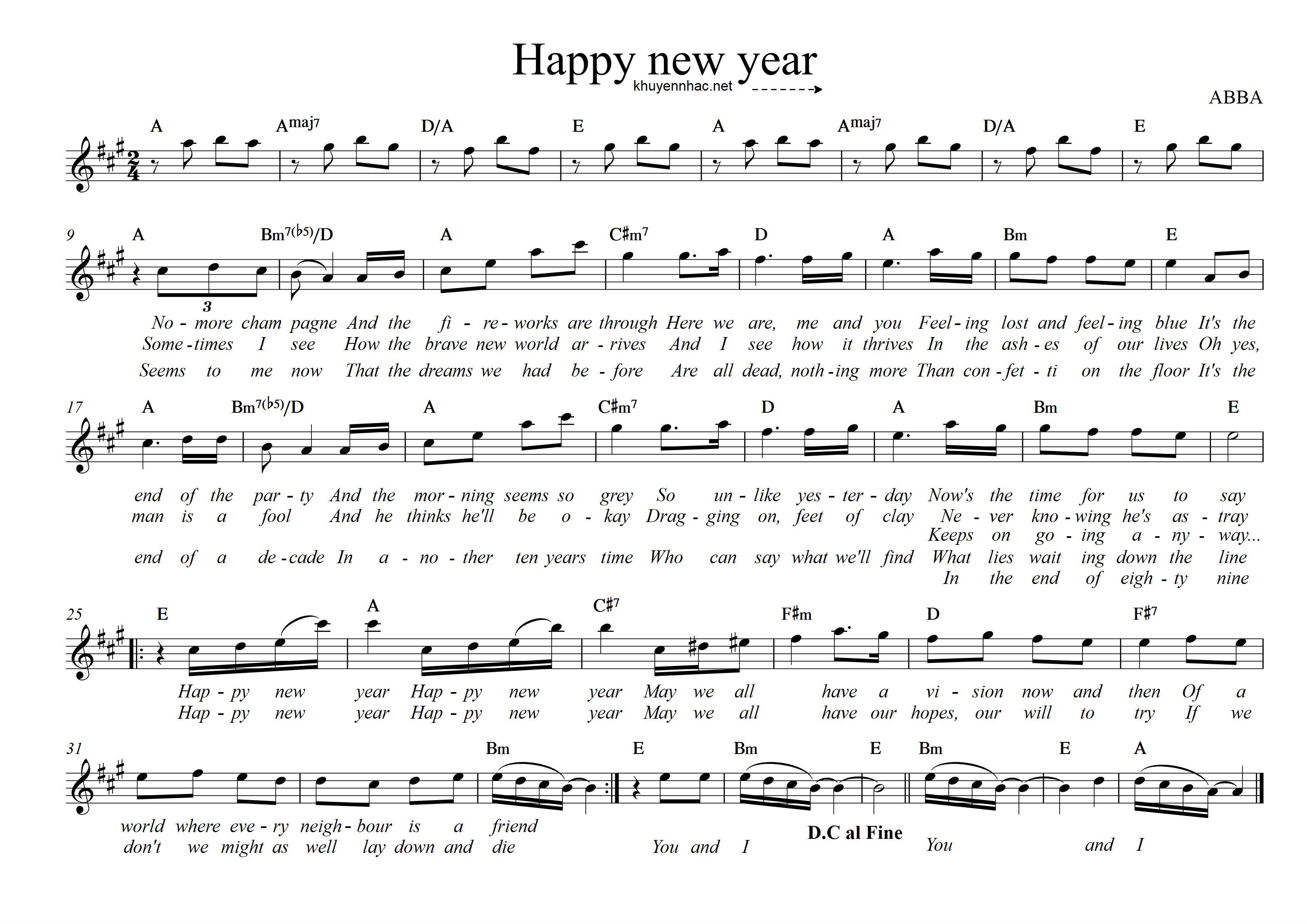 sheet piano happy new year