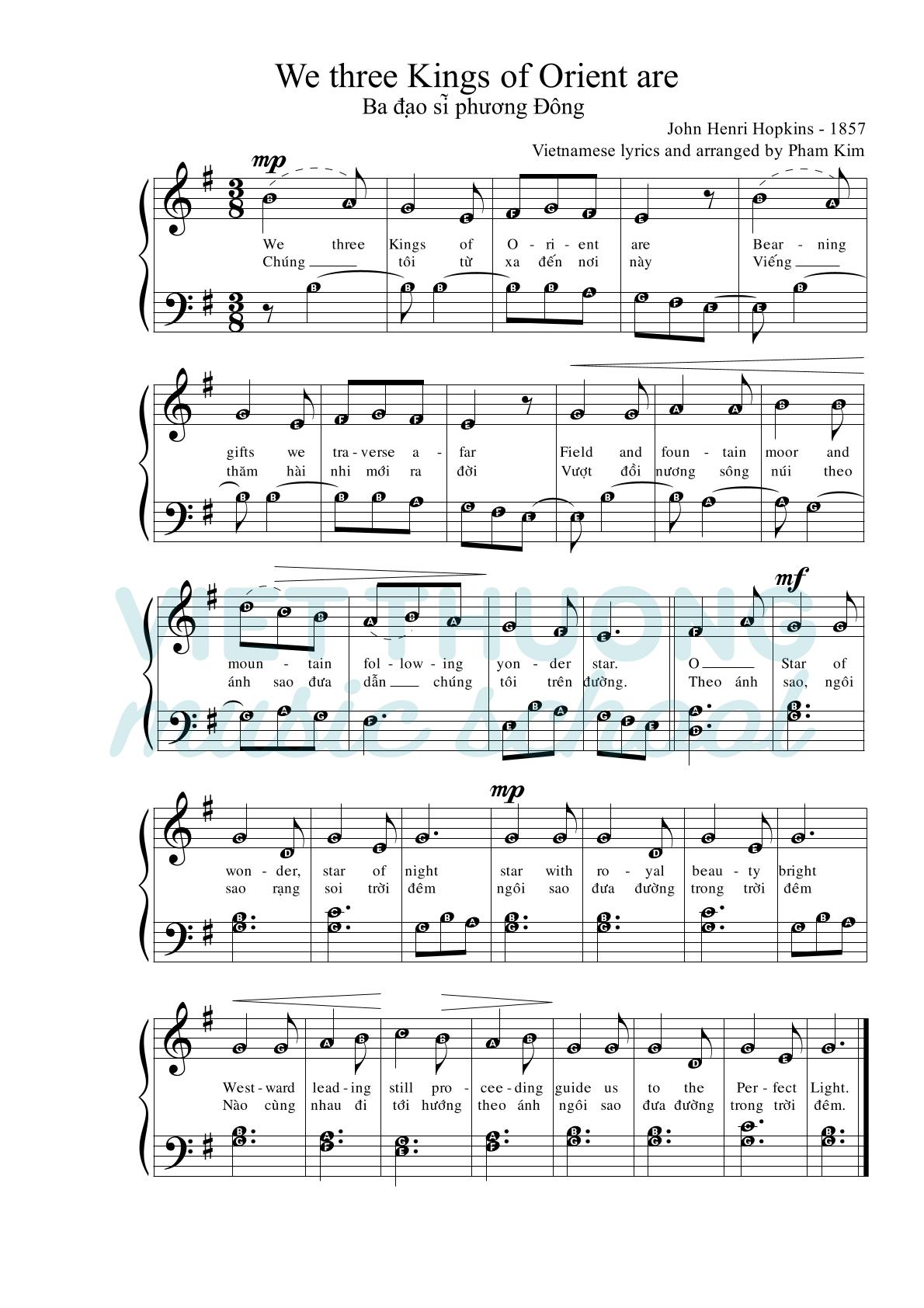 sheet nhạc Noel We Three Kings (3 Vua)