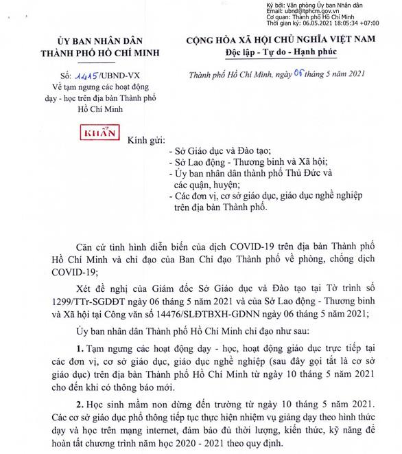 Thông báo tạm dừng lớp học vì dịch bệnh Covid-19 từ ngày 10/05/2021