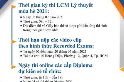Cập nhật về Kì thi LCM: Thay đổi thời gian kỳ thi LCM Lý thuyết Mùa hè 2021
