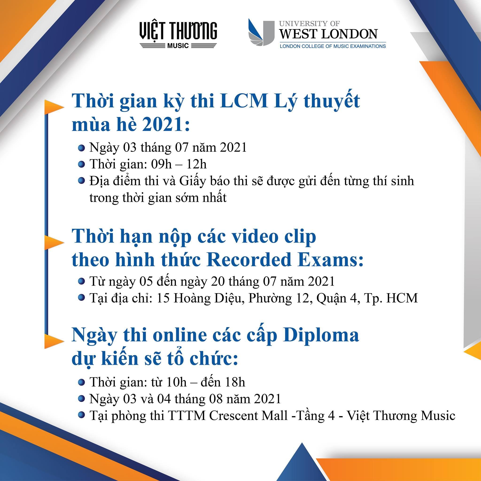 thông báo kỳ thi LCM